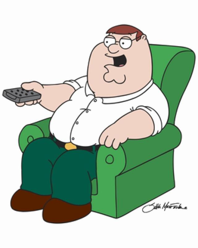 Peter Griffin watching TV